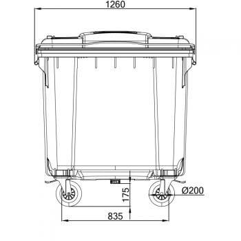 Contenedores de Residuos 1100 Litros: Vista Horizontal