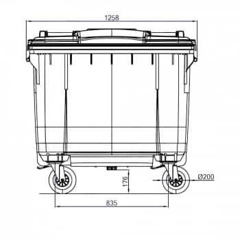 Contenedor de Residuos 660 Litros: Dimensiones horizontales