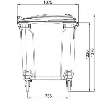 Contenedores de Residuos 1100 Litros: Vista Vertical