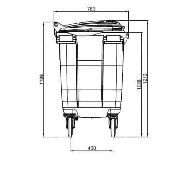 Contenedor de Residuos 660 Litros: Dimensiones Verticales