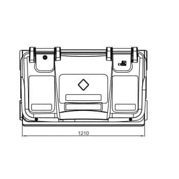 Contenedor de Residuos 660 Litros: Vista Planta