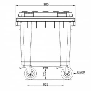 Contenedor de Residuos 400 Litros: Dimensiones Horizontales