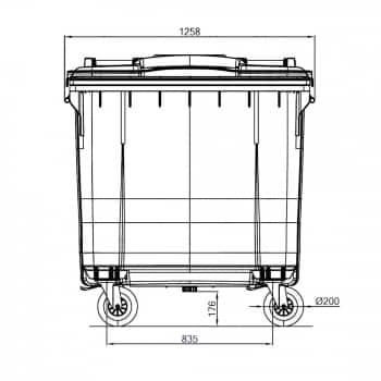 Contenedor de Residuos 770 Litros: Dimensiones Horizontales