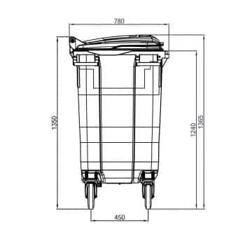 Contenedor de Residuos 770 Litros: Dimensiones Verticales