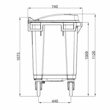 Contenedor de Residuos 400 Litros: Dimensiones Verticales